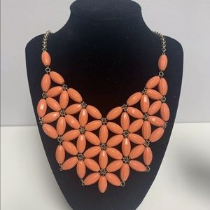 J CREW Coral Orange Bead Statement Flower Necklace